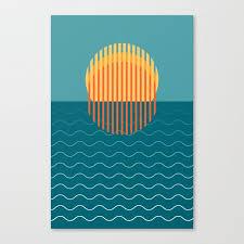 minimalist sunset over ocean travel print sun set poster large printable photography wall art canvas print