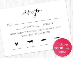 rsvp card template rsvp card with meal icons templates four meal combinations rsvp