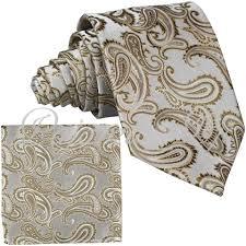 Brand Q New Men's Caramel Beige Paisley Design Self Tie Necktie And  Handkerchief Set