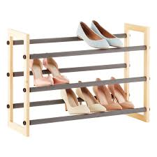 Shoe Organizer Natural 3 Tier Grippy Shoe Rack The Container Store