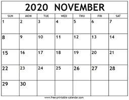 Free 2020 Monthly Calendar Template November 2020 Calendar Template Free Printable Calendar Com