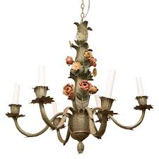 vintage french tole 6 arm chandelier