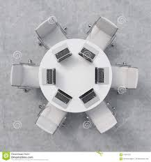 round table and chairs top view. Top View Of A Conference Room. White Round Table, Six Chairs. Laptops Are On The Table. Office Interior. Table And Chairs T