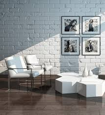 brick living room furniture. Picture Of Minimalist Living Room Interior With White Brick Wall And Chairs Furniture I