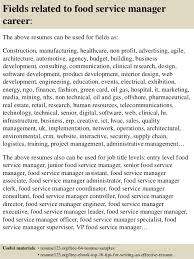 ... 16. Fields related to food service manager ...