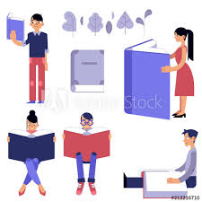 and female flat cartoon characters with open books reading and studying isolated on white background students during teaching in vector ilration