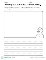 Kindergarten Writing Pages Kindergarten Writing Journal Family Worksheet Education Com