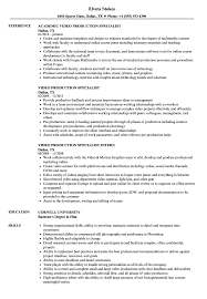 Resume For Video Production Video Production Specialist Resume Samples Velvet Jobs 11
