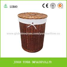 china natural wooden chip laundry basket with cover