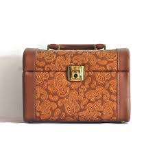 1960 slight brown embossed leather train case italy