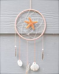 Beach Dream Catchers White Medium Dreamcatcher Beach Dream Catcher with Sea Shells 31