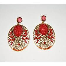 red rhinestone earrings red rhinestone earrings filigree earrings chandelier earrings spanish style earrings boho earrings