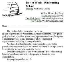 cost better world windsurfing school here s the cover letter i use to forward your check to the chosen organization
