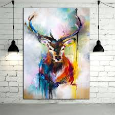 hand painted color deer animals oil painting hang paintings 100 handmade modern impression picture home