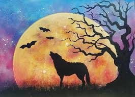 night sky moon rising with wolf and tree silhouette autumn landscape art acrylic painting