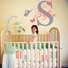 2016 hot personalized name wall sticker cute elephant and butterflies flying wall decals baby nursery room wall art home decor in wall stickers from home  on personalized name wall art for nursery with 2016 hot personalized name wall sticker cute elephant and