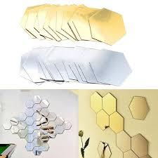 3d hexagon acrylic mirror wall stickers diy art wall decor stickers home decor living room mirrored decorative sticker home wall art stickers home wall
