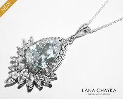 cubic zirconia bridal necklace large teardrop crystal necklace wedding clear cz necklace bridal sparkly crystal pendant prom cz necklace 34 50 usd