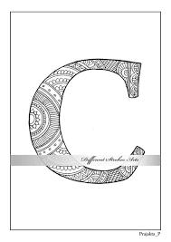 Alfabet C Kleurplaat Pagina Gepersonaliseerde Kleurplaat Brief Kleurende Paginas Brief Illustratie Alfabetten Kleurplaten Zentangle Alfabet