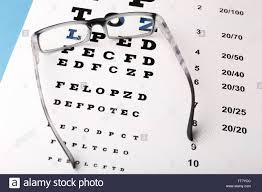 Glasses On Eye Chart Close Up Stock Photo 255872076 Alamy