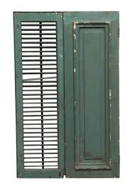 green painted vintage wooden shutters