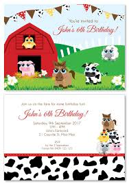 Personalised Birthday Invitations For Kids Farm Animal Party Personalised Party Invitations Custom Printed