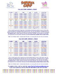 Summer Camp Weekly Schedule Tftsm Summer Camp Schedule The First Tee Of Sarasota Manatee