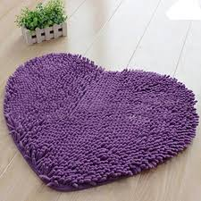 whitelotous heart shaped soft chenille non slip floor area rugs door carpet bath mats purple