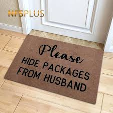 front door rug funny front door mat polyester please hide packages from husband printed anti slip