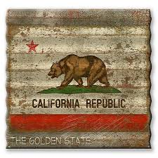 california state flag corrugated metal sign