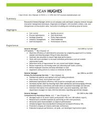 General Manager Resume Templates