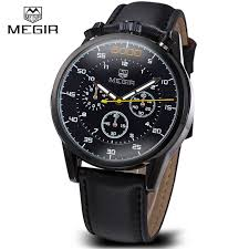 aliexpress com buy megir genuine leather mens designer watches megir genuine leather mens designer watches luxury watch men chronograph sports watch male clock casual wristwatch