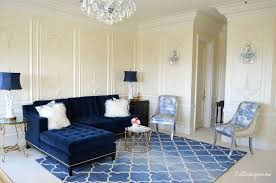 Living Room : Elegant Blue And Cream Living Room Design Ideas In Classic  Touch With L Shape Blue Sofa And Floral Pattern Velvet Chairs Plus Rattan  Coffee ...