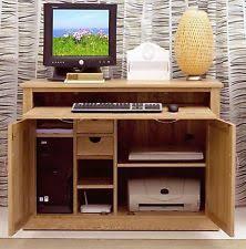 aston solid oak hidden. Mobel Solid Oak Furniture Hidden Home Office Computer PC Desk And Felt Pads Aston