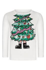 Kids Ivory Long Sleeve Christmas Tree T-Shirt | Childsplay Clothing USA