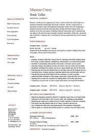 Resume Resume Examples For Bank Teller Skills