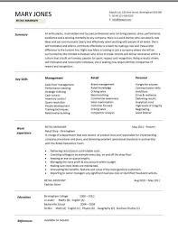Retail Manager Resume Template Classy Retail Manager CV Template Resume Examples Job Description