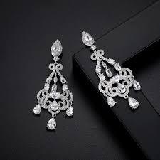long dangle bridal earrings