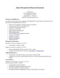 Receptionist Resume Summary Salon Assistant Resume Enderrealtyparkco 24