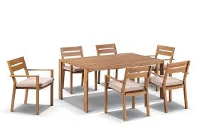 granada 6 aluminum outdoor dining table with chairs setting in teak look with cream cushions