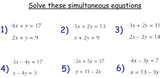 solving simultaneous equations using elimination method