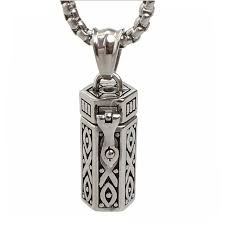men necklaces snless steel tubular open cremation urn jewelry pendant for keepsake memories humans ashes 23in