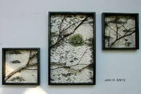 Birch Branch and bark Wall Hanging Triptych,Original Art, Rustic Art, Urban,