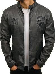 men s leather jacket graphite bolf 4947