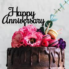 Happy Anniversary Cake Topper In Black