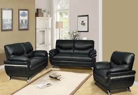 black faux leather 3pc set sofa loveseat chair w chrome tap to expand