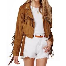 women s fringe asymmetrical zipper suede leather jacket zoom women s