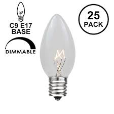 Blue Light Bulbs Bulk 25 Pack Of Transparent Clear C9 Christmas Replacement Lamps