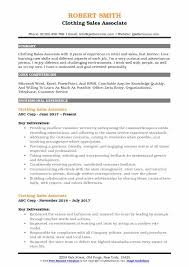 Clothing Sales Associate Resume Samples Qwikresume