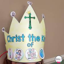 When you are done, glue the long strips of paper to the sides of the crown. Christ The King Printable Crown Sara J Creations